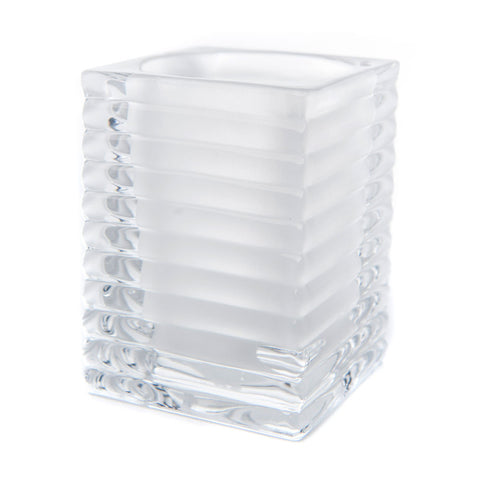 White Ribbed Glass Candle Holder