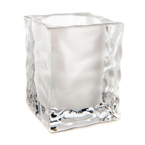 Ice Cube Glass Candle Holder