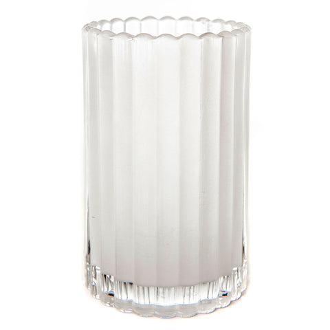 Round Vertical Ribbed Glass Candle Holder