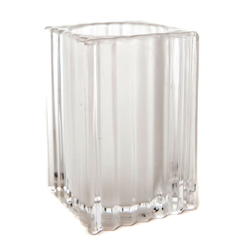 Square Vertical Ribbed Glass Candle Holder