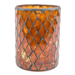 Amber Mosaic Candle Holder Vase (Case of 6) - The Amazing Flameless Candle