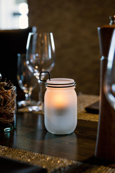 Frosted Mason Jar with Wire Stem - The Amazing Flameless Candle