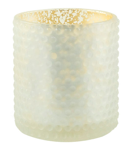White Dot Pattern Glass with Gold Mercury Foil Interior (Case of 6)