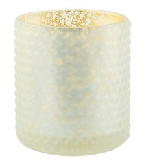White Dot Pattern Glass with Gold Mercury Foil Interior (Case of 6) - The Amazing Flameless Candle
