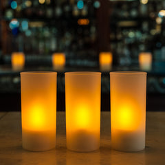 Tall Frosted Acrylic Cylinder Candle Holder (Case of 6) - The Amazing Flameless Candle