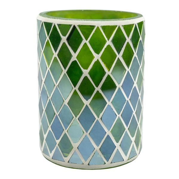 Green Mosaic Candle Holder Vase (Case of 6) - The Amazing Flameless Candle