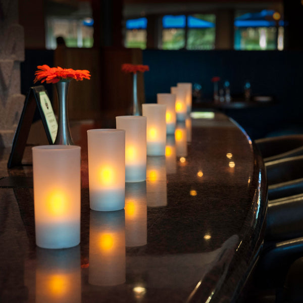 "Tall (4.75"") Frosted Plastic Cylinder Candle Holder - The Amazing Flameless Candle"