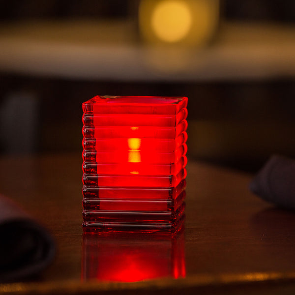 Red Ribbed Glass Candle Holder