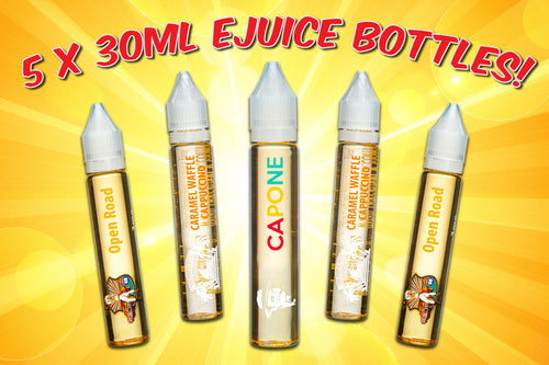 e liquid sample pack with 5 30ml bottles