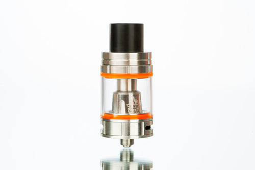 SMOK TFV8 Big Baby Beast Vape Tank - Stainless With Shiny Anodized Finish and Orange Rings
