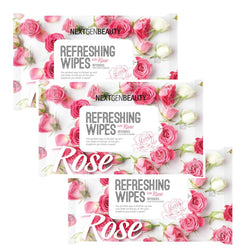 NextGenBeauty Refreshing Wet Wipes - Rose (3-Pack)