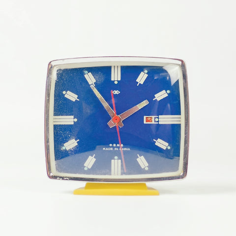 1970s Square Face Double Rhombus Classic Table Clock - SOLD OUT