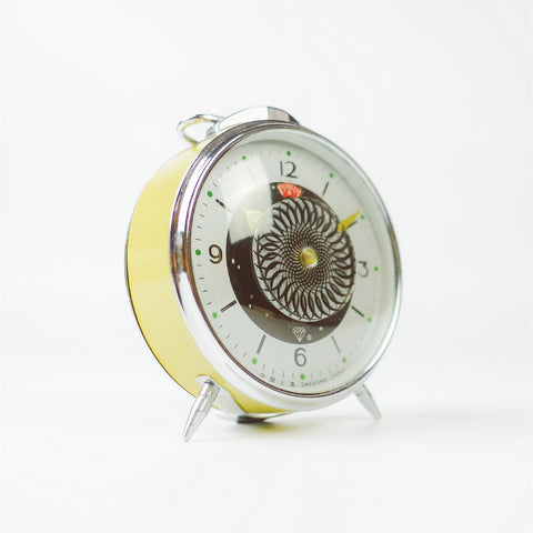1980s Rotating Mosaic Shanghai Diamond Classic Table Clock