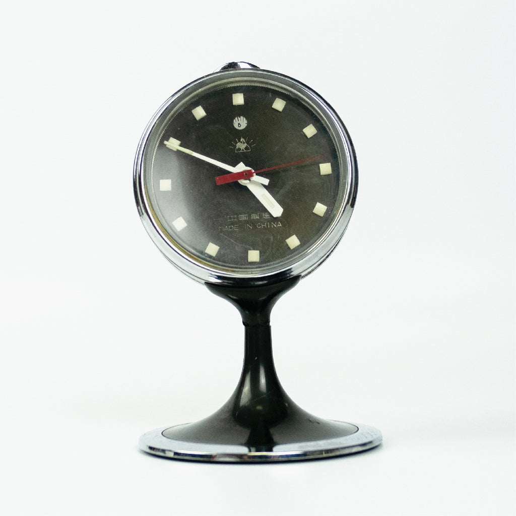1950s Space Age Golden Rooster Classic Pedestal Table Clock