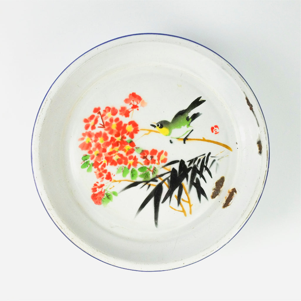 Sparrow on Branch with Chrysanthemums and Bamboo Enamel Tray