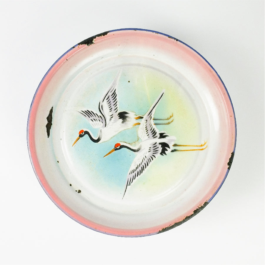 Two Chinese Cranes in Flight Enamel Tray
