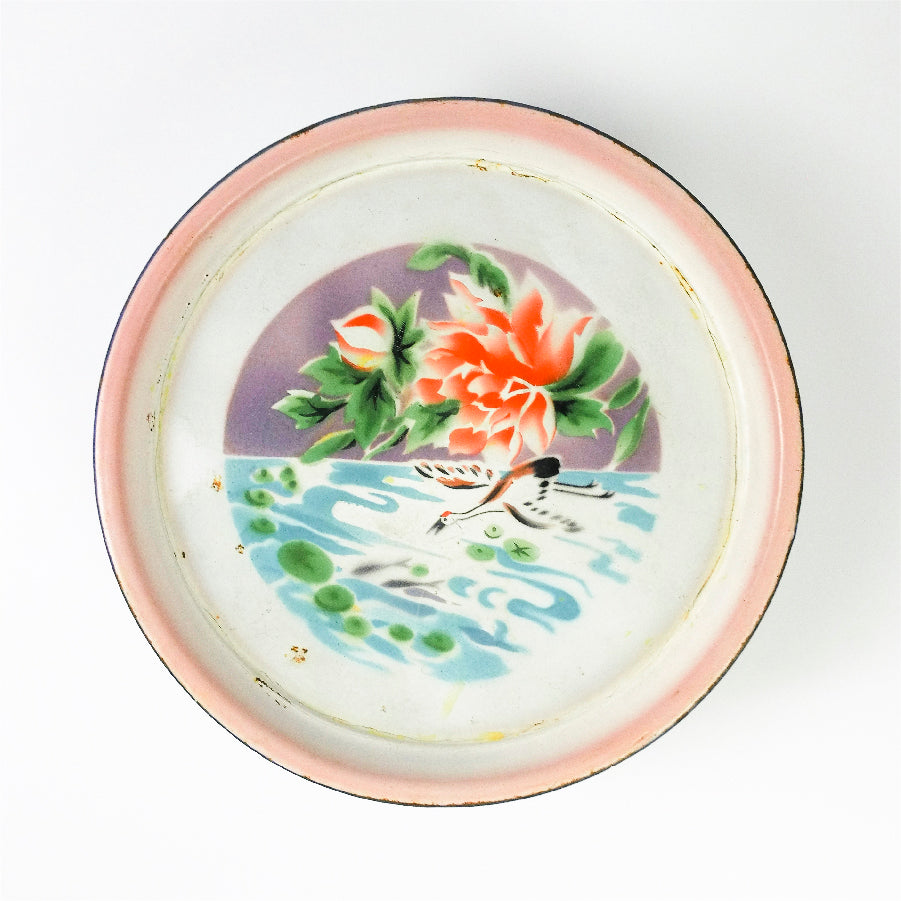 Chinese Crane on River with Peony Flower Enamel Tray