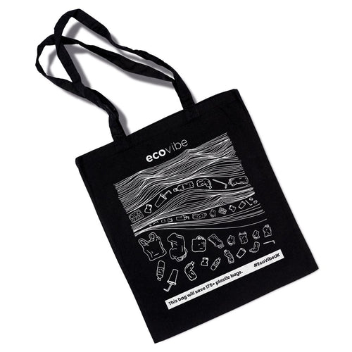 Reusable Cotton Tote Bag - Black Wave Print