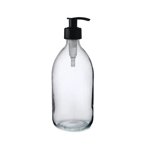 Glass Bottle with Liquid Pump - Clear (500ml)