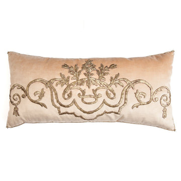 RESERVED: Antique Ottoman Empire Raised Champagne Gold Metallic Embroidery (#E140320 | 14 1/2 x 30