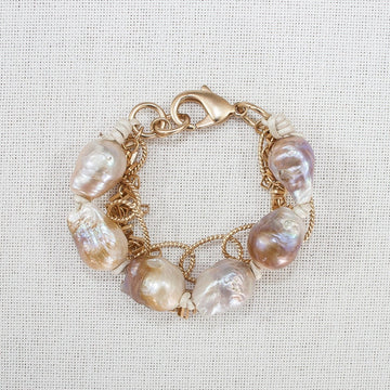 Baroque Pearl and Chain Bracelet