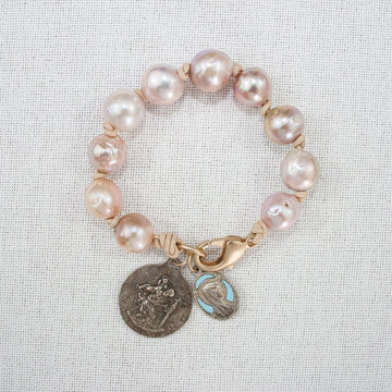 Baroque Pearl Bracelet with Vintage Medals (A)