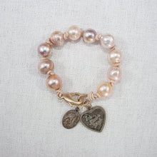 Baroque Pearl Bracelet with Vintage Heart Medal