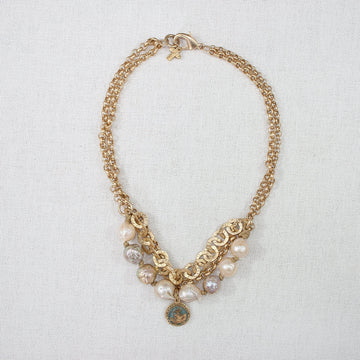 Baroque Pearl Necklace with Chain and Glass Charm (A)