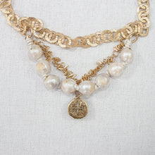Baroque Pearl Necklace with Chain and Glass Charm (B)