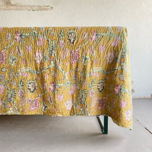 Chartreuse Floral Kantha Quilt (90 x108