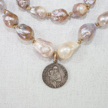 Fabulous Signed Sterling Silver Charm on Baroque Pearl Necklace