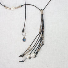 Leather Cord Lariat Necklace with Pearls (C)