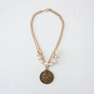 Multi-chain Necklace with Charm and Baroque Pearls