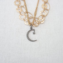 Pave Diamond Crescent City Necklace (Long)