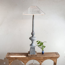Tall Antique Zinc Architectural Fragment Lamp