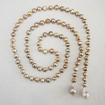 Vintage Lariat Necklace with Baroque Pearls