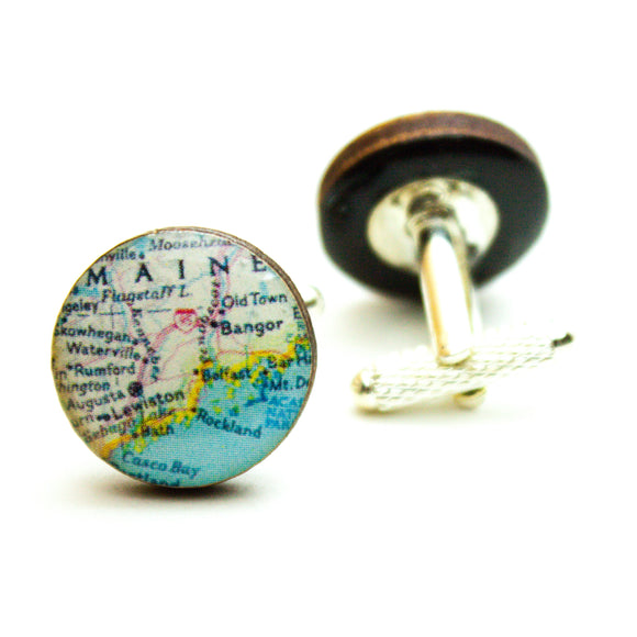 Maine Travel Map  Cufflinks