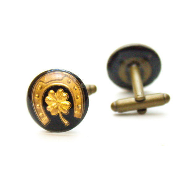 Lucky Horseshoe and Four Leaf Clover Cufflinks