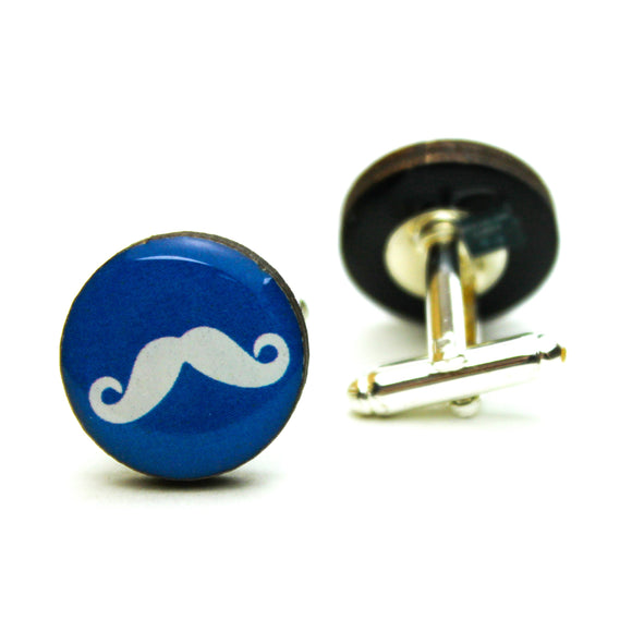 Blue Handlebar Moustache Cufflinks