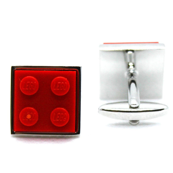 Made from Lego (r) 2x2 Red Cufflinks