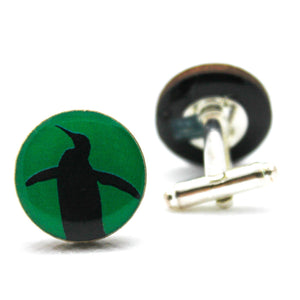 Green Penguin Silhouette  Cufflinks