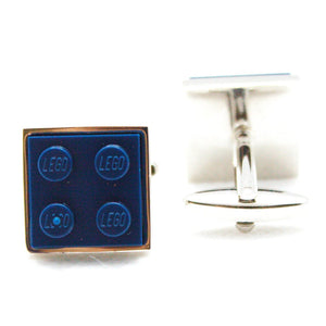 Made from Lego (r) 2x2 Navy Blue Cufflinks