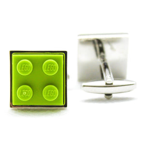 Made from Lego (r) 2x2 Lime Green Cufflinks