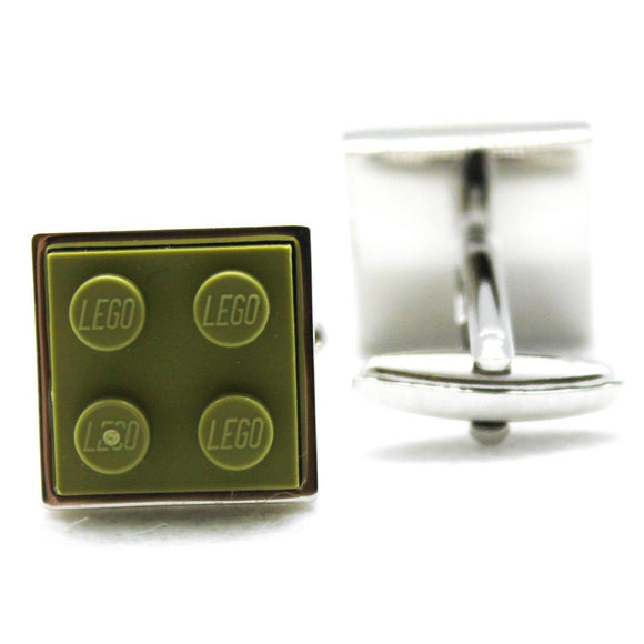 Made from Lego (r) 2x2 Olive Green Cufflinks
