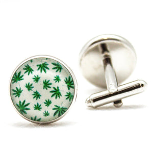 Marijuana Leaf Motif Cufflinks
