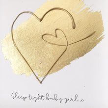 Load image into Gallery viewer, 'Sleep tight baby girl' Heart 3D Box Frame Personalised Art (Gold) www.withcerys.co.uk Wall Art Gifts
