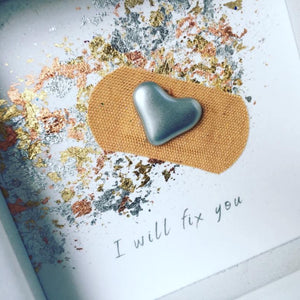 'I will fix you' Positive Plaster, Box Frame Personalised Art (Silver) www.withcerys.co.uk Unique 3D Gifts Of Art