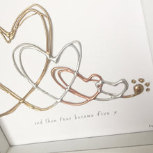 Load image into Gallery viewer, '... and four became five' Family Heart Portrait, 3D Box Frame Personalised Art (Gold, Silver, Rose Gold) www.withcerys.co.uk