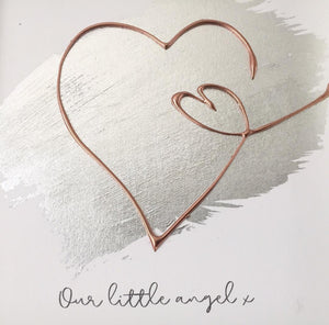'Our little angel' Heart 3D Box Frame Personalised Art (Rose Gold) www.withcerys.co.uk Wall Art Gifts