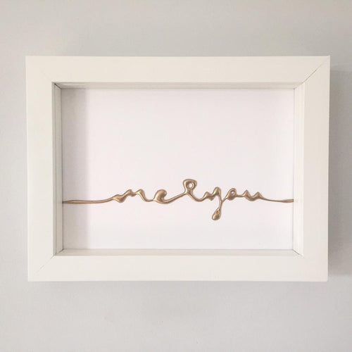 'me & you' 3D Box Frame Personalised Word Art (Gold) www.withcerys.co.uk Unique Gifts Of Art